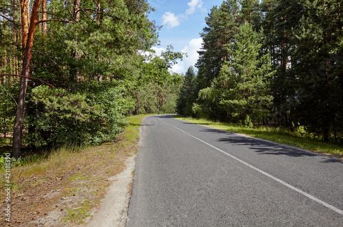 Asphalt twisty suburban road Fotobehang