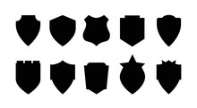 Shield Icons Set. Shield Shape Icons. Symbol Shape. Different Shields Collection. Police Badge. Security Symbol. Protect Shield Flat Style - Stock Vector.