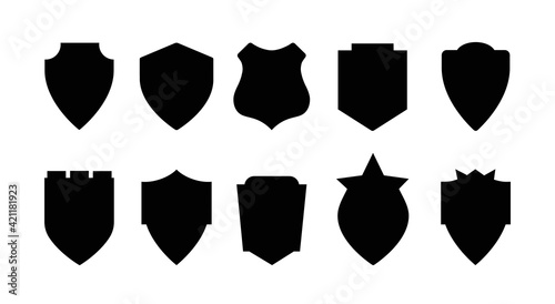 Fototapeta Shield icons set. Shield shape icons. Symbol shape. Different shields collection. Police badge. Security symbol. Protect shield flat style - stock vector. obraz