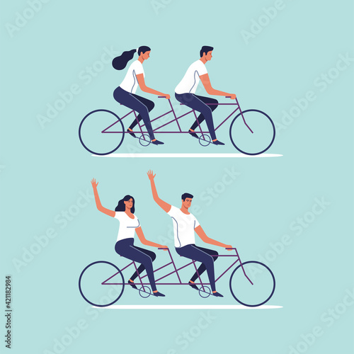 Obraz Cute couple riding on tandem bike. Man and woman enjoying physical activity on bicycle together. Vector illustration. - fototapety do salonu