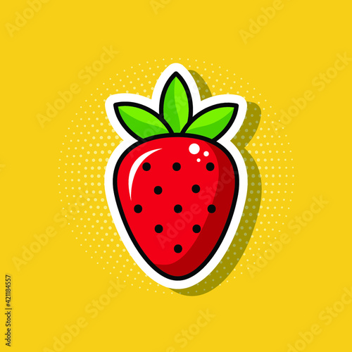 Strawberry. Vector sketch in pop art style