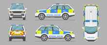 English Police Car. Cartoon Flat Illustration, Auto For Graphic And Web Design. Vector SUV Car From Different Sides. Side View, Front View, Back View, Top View.