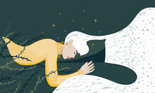 The Young Woman Does Not Sleep Well, Is Restless. Bad Dreams, Night Pain. Flat Vector Illustration