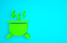 Green Witch Cauldron Icon Isolated On Blue Background. Happy Halloween Party. Minimalism Concept. 3d Illustration 3D Render