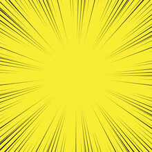 Speed Line Background. Illustration Of A Flash Or Glare. Concentration In The Center Of The Composition. Vector Illustration. Comic Book Black And Yellow Radial Lines Background.