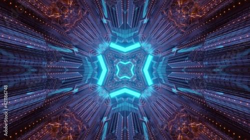 Futuristic interior of sci fi tunnel 3d illustration Fototapet