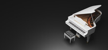 Banner With Black Background Of A White Grand Piano With Golden Details. 3d Rendering