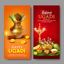 Vertical Banners With Kalash And Traditional Food Pachadi With All Flavors For Indian New Year Festival Ugadi (Gudi Padwa). Vector Illustration.