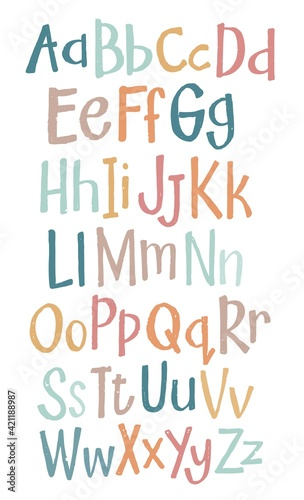 Fototapeta hand drawn alphabet, isolated vector obraz