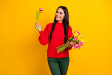 Photo Of Young Happy Smiling Dreamy Girl Hold Bouquet Adoring Flower In Hand Isolated On Yellow Color Background
