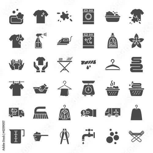 Obraz na plátně Laundry Solid Web Icons