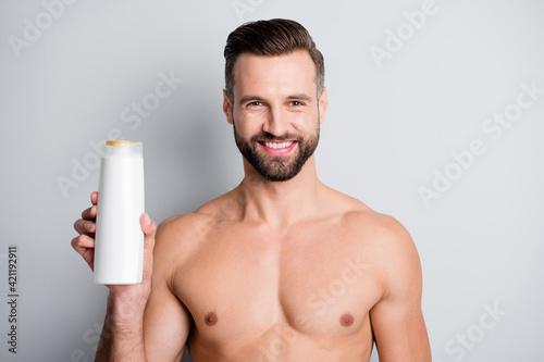 Vászonkép Photo of young handsome stubble man happy smile enjoy hygiene haircare shampoo i