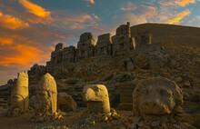 Ancient Statues On The Top Of Nemrut Mount, Turkey. The Mount Nemrut Is Listed As UNESCO World Heritage. Adiyaman,Turkey
