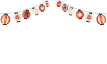 夏の祭り提灯の水彩風ベクターイラストフレーム