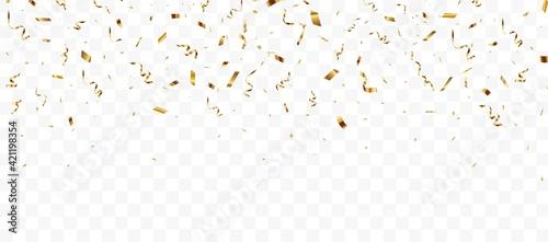 Photo Gold confetti background, isolated on transparent background