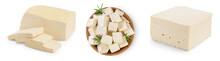 Tofu Cheese Isolated On White Background With Clipping Path And Full Depth Of Field, Set Or Collection
