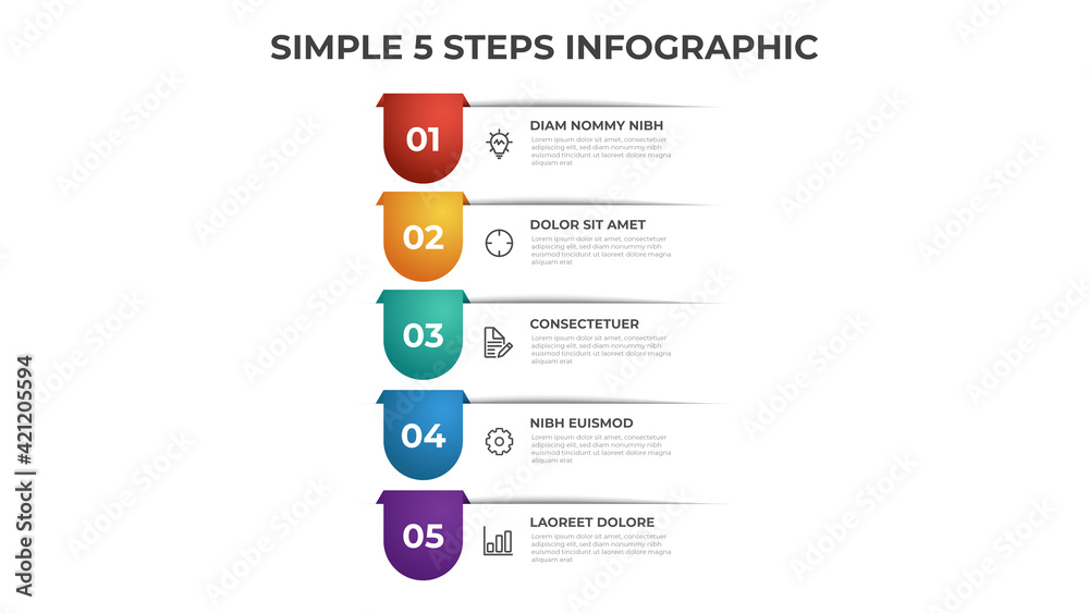 Fototapeta Colorful 5 points of steps diagram with simple design, infographic template vector.