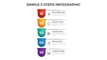 Colorful 5 Points Of Steps Diagram With Simple Design, Infographic Template Vector.