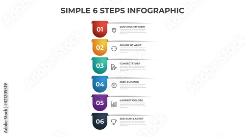 Photo Colorful 6 points of steps diagram with simple design, infographic template vector