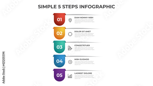 Colorful 5 points of steps diagram with simple design, infographic template vector Fototapet