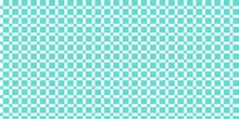 Wide Seamless Pattern With Squares, Vector Drawing, Turquoise Blue Geometric Background