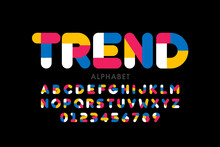 Modern Style Font, Trendy Color Typography Design, Alphabet Letters And Numbers