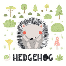 Cute Funny Hedgehog In Forest, Woodland Landscape, Isolated On White. Hand Drawn Wild Animal Vector Illustration. Scandinavian Style Flat Design. Concept For Kids Fashion, Textile Print, Poster, Card