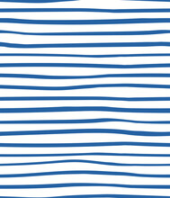 Uneven Horizontal Stripes Simple Nautical Seamless Geometric Pattern, Blue On White Background. Hand Drawn Vector Illustration. Design Concept For Kids Fashion Print, Textile, Wallpaper, Packaging.