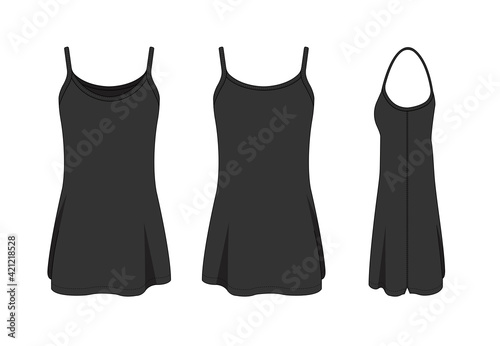 Photo Woman long camisole dress template vector illustration