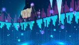 Fototapeta Miasto - Businessman drawing growth graph on virtual screen, closeup. Investment concept