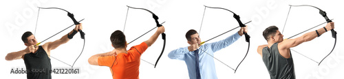 Fotografie, Tablou Man practicing archery on white background, collage