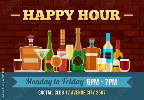 Tablou Canvas Bar happy hour poster