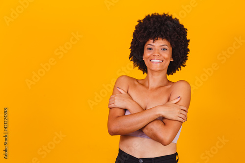 Canvas Print Skin care .Brazilian  Afro woman smiling with perfect skin.