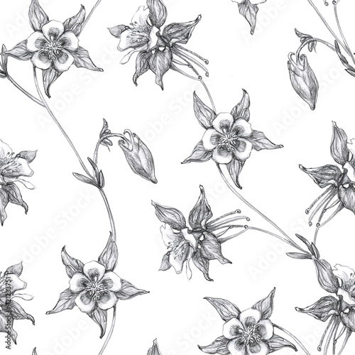Fotografering Seamless Pattern  with black and white columbine flowers or aquilegia isolated on white background