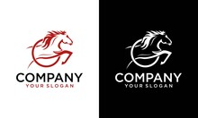 Vector Image Of Horse Drawing Design With A White Background. Elegant Jumping Horse Logo. Illustration Of Line Art Of Horse Riding With Jockey. Can Be Used For Logos For Horse Farms.