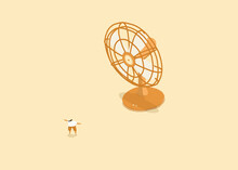 Breath Of Fresh Air - Miniature Person Cooling Down In Front Of Desk Fan - White Background