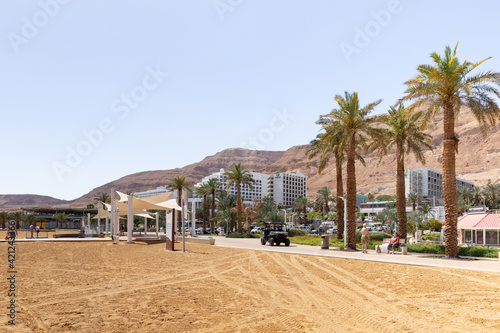 Canvas Print View of the beach on the Ein Bokek embankment on the coast of the Dead Sea, tour