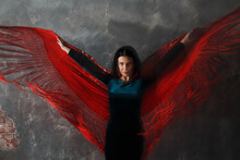 Young Adult Dancer Woman Dancing Flamenco On Gray Vintage Background