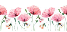 Watercolor Seamless Border. Poppy Plants And Butterflies. Summer Field Flowers With Green Leaves. Floral Horizontal Line In Repeat. Realistic Botanical Illustration
