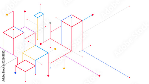 Digital geometric tech elements abstract background Fotobehang