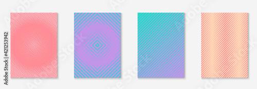 Obraz Set brochure as minimalist trendy cover. Line geometric element. - fototapety do salonu
