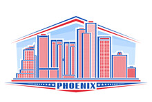 Vector Illustration Of Phoenix City, Horizontal Poster With Line Art Design Phoenix City Scape On Day Background, Urban Panoramic Concept With Unique Font For Word Phoenix And Decorative Stars In Row.