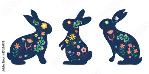 Set easter bunny with flowers.vector illustration.