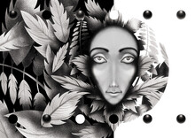 Face Of The Girl In The Leaves