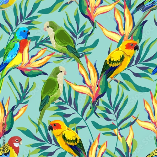 Fotografie, Obraz Pattern with beautiful parrots and exotic tropical flowers leaves