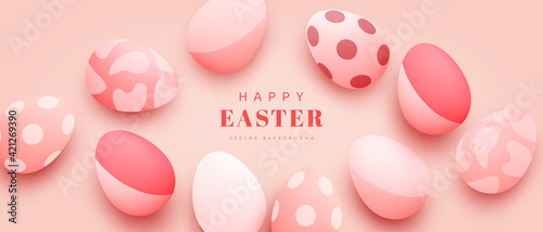 Fototapeta Happy Easter design with realistic eggs. Festive spring 3d composition. Horizontal background for web banner, poster, flyer, cover and brochure obraz