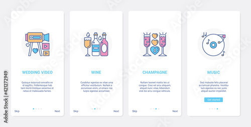 Papel de parede Wedding celebration party and banquet UI, UX onboarding mobile app page screen s