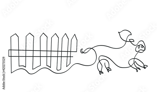 Fototapeta One line drawing of pig running in farm yard One continuous line drawing of pig on white. obraz