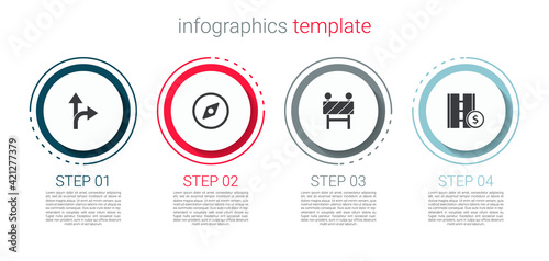 Set Road traffic sign, Compass, barrier and Toll road. Business infographic template. Vector
