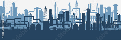 Canvas Print Industrial factories silhouette background